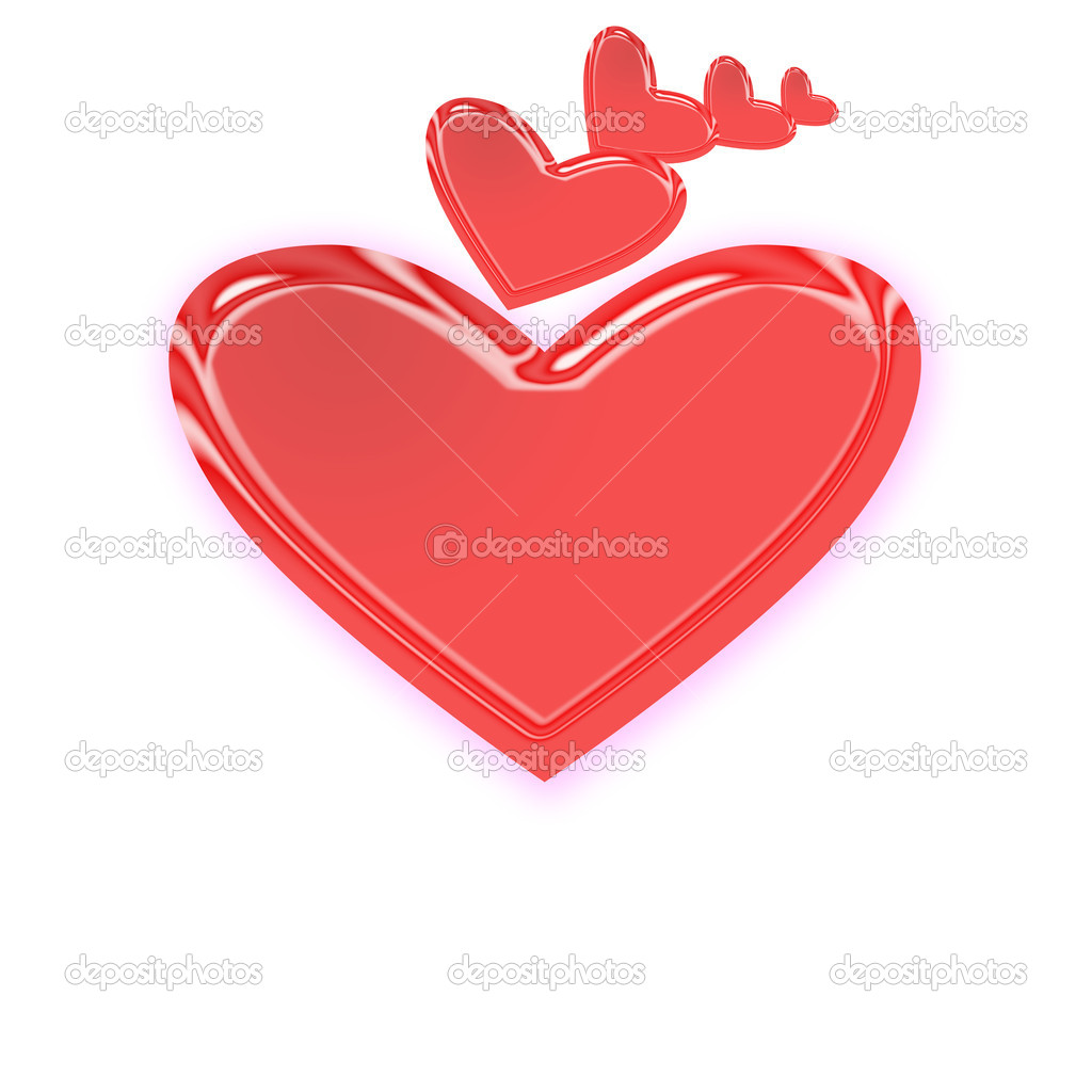 Red hearts isolated on white — Stock Photo #1136736