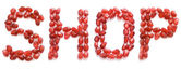 Ordet shop w rött granatäpple skriftväxling — Stockfoto