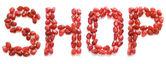 Słowo sklep w listów czerwony granat — Zdjęcie stockowe