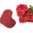 Knitted heart and flowers — Stock Photo
