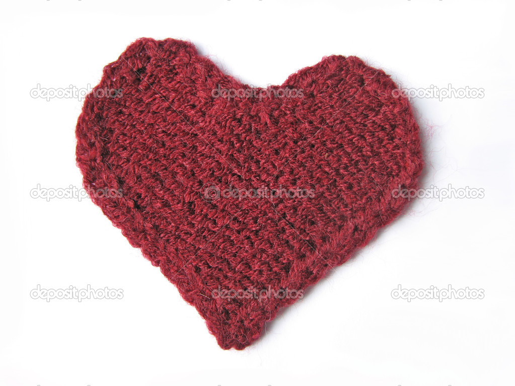 Cherry-coloured knitted heart on white background  — Stock Photo #1193758