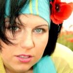 Pretty blue-eyed brunette — Stock Photo
