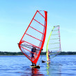 Windsurfing is on Latvian lake — Stock Photo