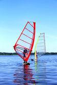 Windsurfing is on Latvian lake — Stock Photo