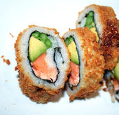 Fried sushi — Stock Photo
