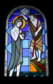 Stained glass window in Abu - Ghoush  monastery — Stock Photo