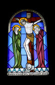 Stained glass window in the monastery — Stock Photo