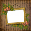 Stock Photo: Picture gold frame with a decorative pat