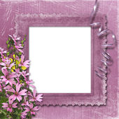 Pink abstract background with frame and — Stock Photo