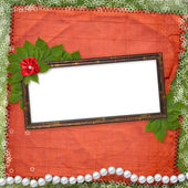 Frame for photo with pearls and bunch of — Stock Photo