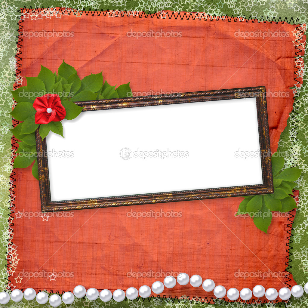 Frame for photo with pearls and bunch of flower — Stock Photo #1126260