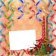 Festive invitation or greeting with ribb — Stock Photo