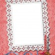 Lace frame with ribbons and beads for ph - Stock Photo