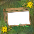 Grunge frame with bunch of flower on the — Stock Photo