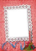 用彩带和 ph 值的珠子花边框架 — 图库照片