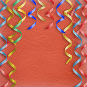 Card with multicolor streamers to holida — Stock Photo