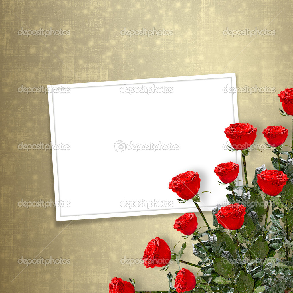 Card for congratulation or invitation with red roses — Stock Photo #1135402