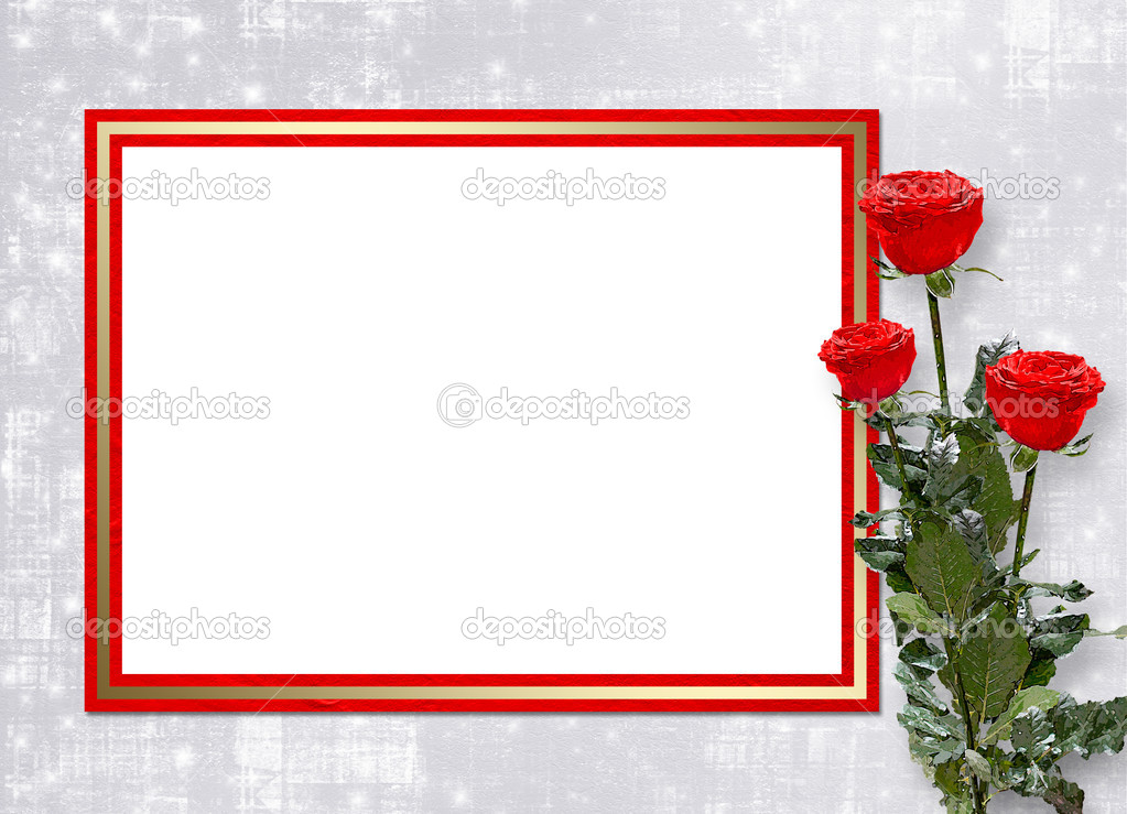 Card for congratulation or invitation with red roses — Stock Photo #1135429