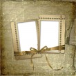 Grunge frames with ribbon and bow on the — Stock Photo