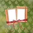Stock Photo: Old grunge frames with ribbons and bow o