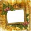 Picture gold frame with a decorative pa — Stock Photo