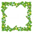 Frame of flowers garland on the white is — Foto de Stock