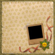 Beige floral background with Old photofr - Stock Photo