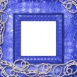 Stockfoto: Wooden frame with beads on leafage o