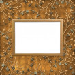 Wooden frame on the leafage ornamental b — Stock Photo