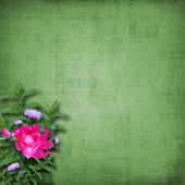 Grunge paper with bunch of flower on the — Stock Photo