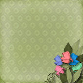 Green ornamental background with floral — Stock Photo