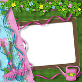 Vintage frame with bunch of flowers on t — Stock Photo