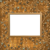 Wooden frame on the leafage ornamental b — Zdjęcie stockowe