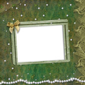 Frame for photo with pearls and lace — Stock Photo