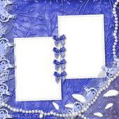Frame for photo with pearls and lace on — Stock Photo