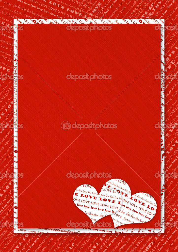 Valentines day card with hearts on the abstract red background — Stock Photo #1147483