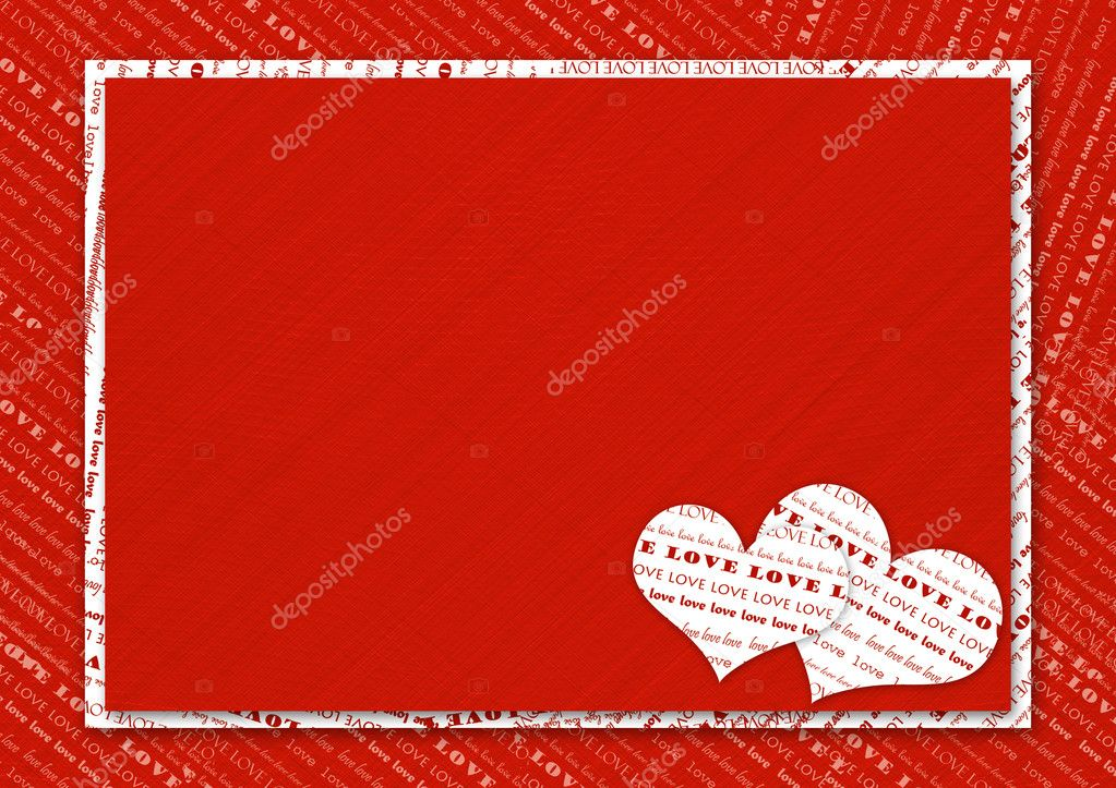 Valentines day card with hearts on the abstract red background  Stock Photo #1147554