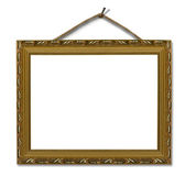 Picture gold frame on the white isolated — Stock Photo