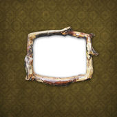 Wooden frame for picture or photo on the — Stock Photo