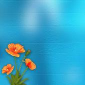 Mavi arka plan üzerinde haşhaş — Stok fotoğraf
