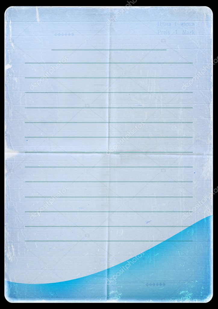 Torn blue paper from notebook. Old parchment  Stock Photo #1213877