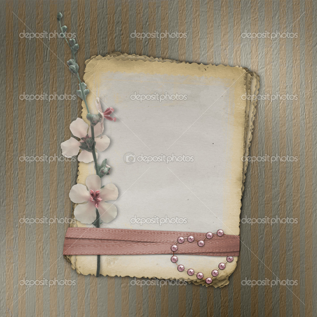 Grunge papers design in scrapbooking style with flower. — Stock Photo #1213893