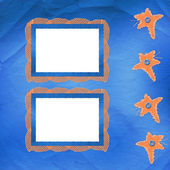 Old frame with orange stars and buttons — Stock Photo