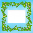 Carved frame with flower garland - Stock Photo