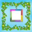 Wooden frame with flower garland - Stock Photo