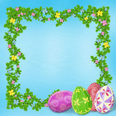 Pastel background with colored eggs — Stock Photo