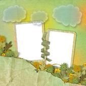 两个 grunge 帧与鲜花 — 图库照片