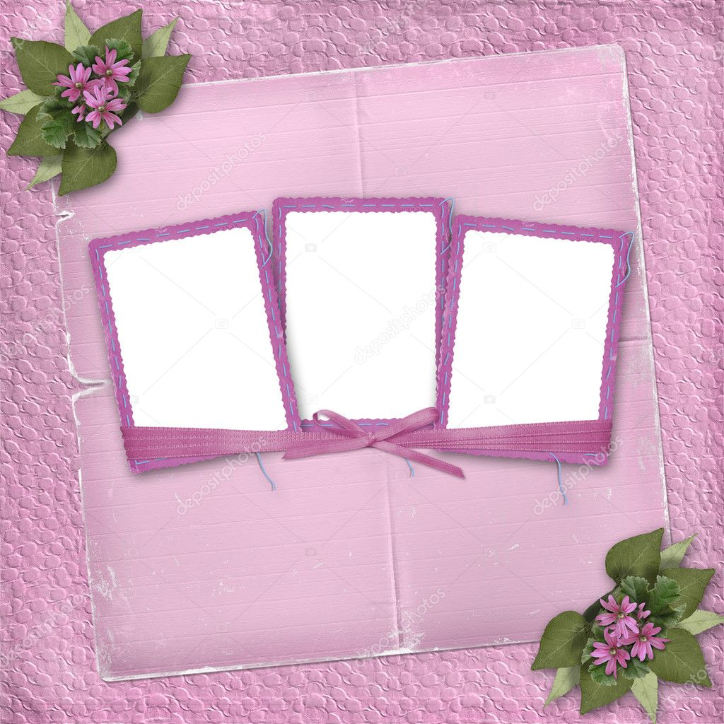 frame for three photos with colorful flowers and leaves stock photo