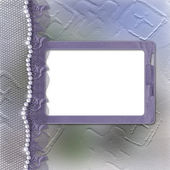 Lilac frame for photo with pearls — Stock Photo