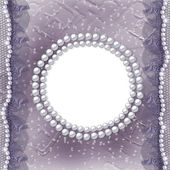 Grunge frame for photo with pearls — Stock Photo